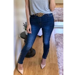 Denim - Bandit Button Ankle High Rise Skinny Jean
